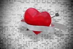 Immagine composita di cuore con il rotolo 3d Immagine Stock