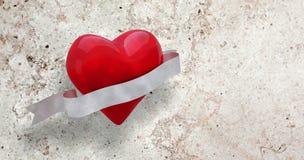 Immagine composita di cuore con il rotolo 3d Fotografia Stock Libera da Diritti
