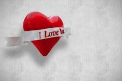 Immagine composita di cuore con il rotolo 3d Immagini Stock