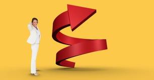 Immagine composita di Digital della donna di affari con la freccia a spirale Fotografie Stock
