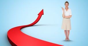 Immagine composita di Digital della donna di affari dalla freccia Immagini Stock