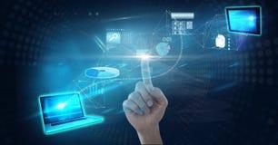 Immagine composita di Digital dello schermo futuristico commovente della mano immagini stock libere da diritti