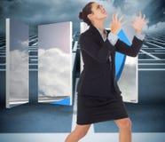 Immagine composita di gesturing arrabbiato della donna di affari Fotografie Stock Libere da Diritti