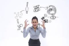 Immagine composita di gesturing furioso della donna di affari Fotografia Stock