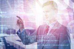 Immagine composita di giovane uomo d'affari astuto che indica 3d Immagine Stock Libera da Diritti