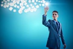 Immagine composita di giovane uomo d'affari che gesturing 3d Fotografia Stock Libera da Diritti