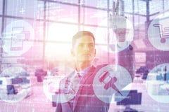 Immagine composita di giovane uomo d'affari specializzato che gesturing 3d Fotografia Stock Libera da Diritti