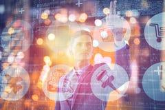 Immagine composita di giovane uomo d'affari specializzato che gesturing 3d Immagini Stock Libere da Diritti
