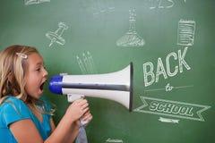 Immagine composita di nuovo al messaggio della scuola Fotografia Stock Libera da Diritti