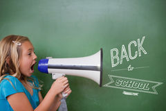Immagine composita di nuovo al messaggio della scuola Immagini Stock Libere da Diritti