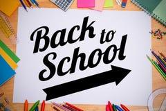 Immagine composita di nuovo al messaggio della scuola con la freccia Immagini Stock Libere da Diritti