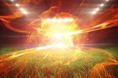 Immagine composita di palla di fuoco 3d Immagine Stock