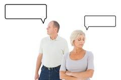 Immagine composita di più vecchie coppie che hanno una discussione Fotografia Stock