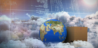 Immagine composita di pianeta Terra 3d e della scatola di cartone contro fondo bianco illustrazione di stock