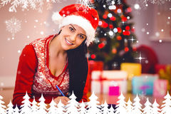 Immagine composita di scrittura castana festiva la sua lista Fotografie Stock
