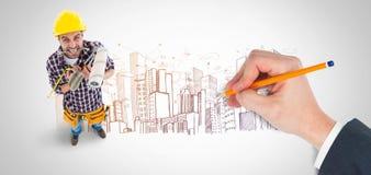 Immagine composita di scrittura della mano con una matita Immagini Stock
