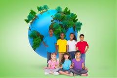Immagine composita di sorridere elementare degli allievi Fotografia Stock Libera da Diritti