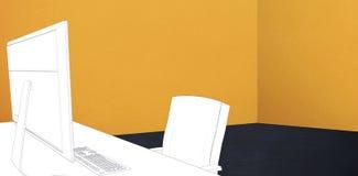 Immagine composita di tiraggio di uno scrittorio immagini stock