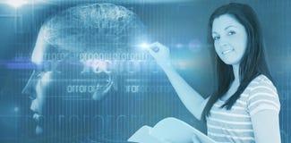 Immagine composita digitalmente dell'immagine dell'interfaccia del cervello illustrazione di stock