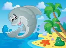 Immagine con il tema 5 del delfino Fotografia Stock