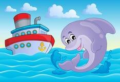 Immagine con il tema 8 del delfino Immagini Stock