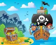 Immagine con il tema 6 della nave del pirata illustrazione di stock