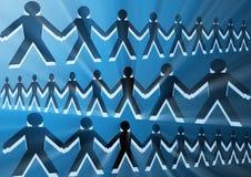Immagine concettuale con le siluette della gente unita Fotografie Stock
