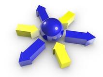 Immagine concettuale della sfera e delle frecce. Isolato. Fotografie Stock