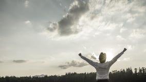 Immagine concettuale desaturata della vittoria, del potere e del successo Fotografia Stock