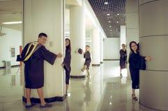 Immagine creativa 4 di graduazione del gruppo asiatico Fotografia Stock Libera da Diritti