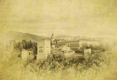 Immagine d'annata del palazzo di Alhambra, Granada, Spagna Fotografia Stock