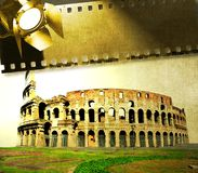 Immagine d'annata di Colosseum con la striscia di pellicola ed il riflettore Immagine Stock Libera da Diritti