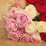 Immagine d'annata di stile di un mazzo della rosa Fotografia Stock Libera da Diritti