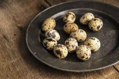 Immagine d'annata lunatica di stile di illuminazione naturale la retro dei quaills eggs Fotografie Stock Libere da Diritti