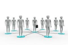 immagine 3d degli uomini virtuali su collegamento globale Illustrazione di Stock