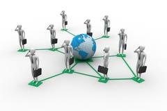 immagine 3d degli uomini virtuali su collegamento globale Royalty Illustrazione gratis