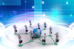 immagine 3d degli uomini virtuali su collegamento globale Fotografie Stock