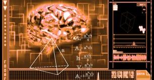 immagine 3d del cervello e delle equazioni immagine stock libera da diritti