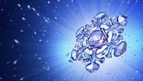 immagine 3d del fiocco di neve di cristallo contro fondo blu royalty illustrazione gratis