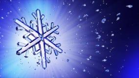 immagine 3d del fiocco di neve di cristallo contro fondo blu illustrazione vettoriale