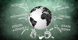 immagine 3d del globo circondata con i simboli ed il testo della freccia Immagine Stock Libera da Diritti