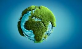 immagine 3D del globo della terra fatta di acqua e di erba che crescono sul outli Immagine Stock Libera da Diritti