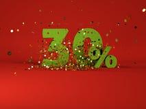 immagine 3d del simbolo di sconto della molla 30% Fotografia Stock
