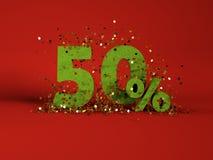immagine 3d del simbolo di sconto della molla 50% Immagine Stock