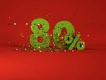 immagine 3d del simbolo di sconto della molla 80% Immagini Stock Libere da Diritti