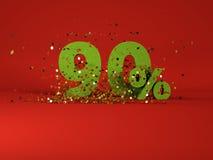 immagine 3d del simbolo di sconto della molla 90% Fotografia Stock