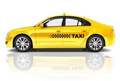 immagine 3D dell'automobile del taxi della berlina di giallo di vista laterale Fotografia Stock Libera da Diritti