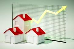 immagine 3d delle case con la crescita del grafico Fotografie Stock Libere da Diritti