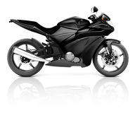 immagine 3D di una motocicletta moderna nera Fotografia Stock
