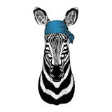 Immagine d'uso della bandana o della bandana o del bandanna dell'animale selvatico del cavallo della zebra per il pirata Seaman S Fotografie Stock Libere da Diritti